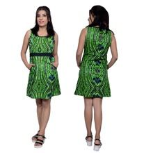 Green Cotton Print Short Dress