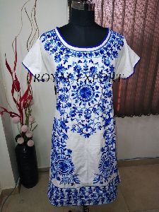 Blue And White Hand Embroidered Knee Lenghth Dress