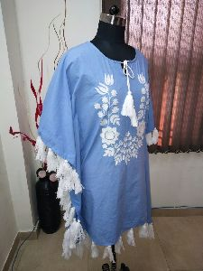 Embroidered Short Kaftan With Tassels