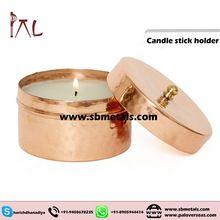 Hammered Copper Candle Holder/tins