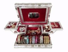 Silver Metal Finish Premium Wooden Jewellery Box