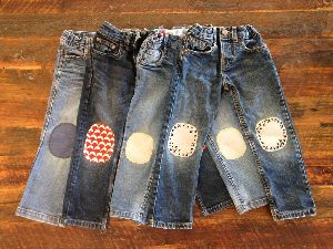 Kids Patched Jeans