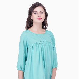 Womens Poly Crepe Round Neck Top