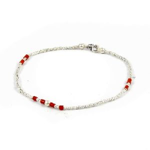 Great Creation!! 925 Sterling Silver Coral Beaded Bracelet