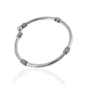 Indian Fashion Inlay 925 Sterling Silver Bangle