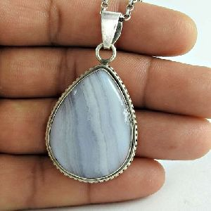 Nice Looking 925 Sterling Silver Blue Lace Agate Gemstone Pendant