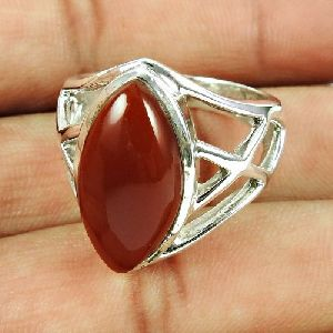 Sterling Silver Jewellery Fashion Carnelian Gemstone Ring Grossiste
