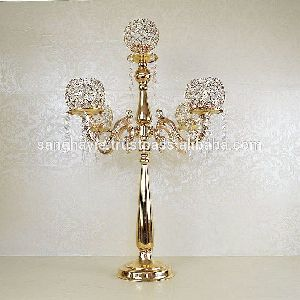 Hand Made Crystal Metal Candelabra