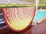 Red Round Mandala Beach Tapestry Yoga Mat