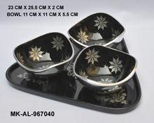 Aluminum Platter and 3 Bowls Set