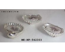 Silver Plated Natural Sea Shell Wax Filled T-light Holder