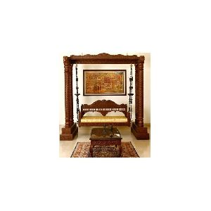 Hand Carved Wood Swing For Living Room