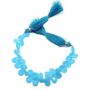 Blue Chalcedony Connector Pear Shape Connector Teardrop Loose Gemstone