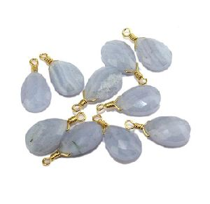 Teardrop Natural Blue Lace Agate Gold Plated Wire Pendant