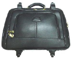 Men Leather Luggage Trolley Bag