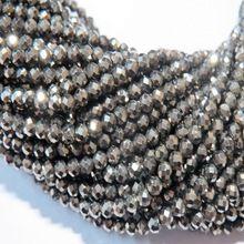 Black Rutile Tourmalinated Quartz Faceted Rondelle Natural Gemstone Beads