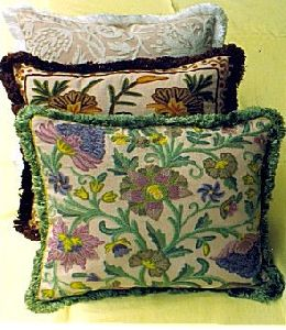 Hand-embroidered Crewel Cushions