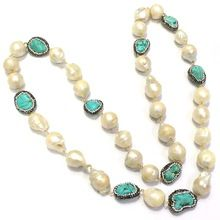 Uneven Shape Turquoise With Barque Pearl Long Beaded Necklace