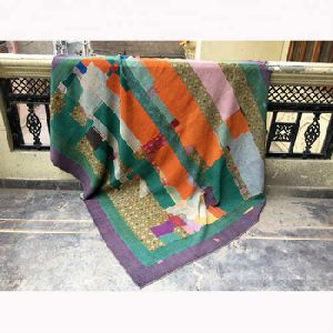 Vintage Kantha Quilts Cotton Reversible Sari quilt Throws Handmade Kantha