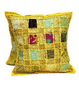 Embroidery Sequin Patchwork Indian Sari Throw Pillow Cases Cushion Covers
