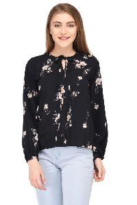 Black Floral Printed Long Sleeves Top