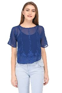 Blue Embroidered Semi Transparent Top