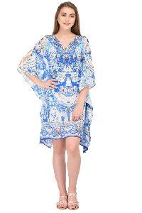 Blue Printed Designer Beach Wear Kaftan
