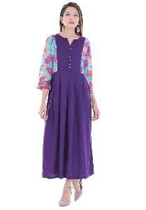 Purple Printed Maxi Dress