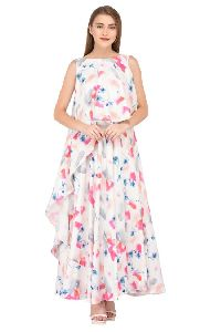 White Floral Printed Maxi Dress