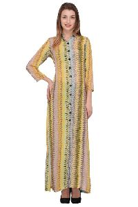 Yellow Printed Long Kurti