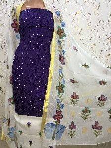 Brush Paint Kantha Work Dress Material