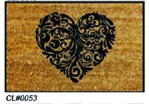 PVC Backed Heart Print Coir Mat 01