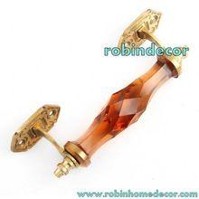 Crystal Cut Glass Brass Door Handle