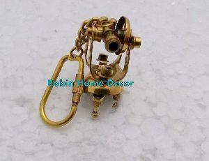 Solid Antique Brass Theodolite Key Chain Antique Brass Keyring Nice Keychain