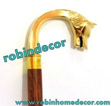 Wolf Head Solid Brass Plated Walking Stick