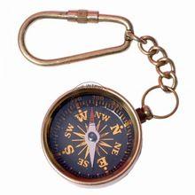 Brass Compass Keyring