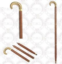 Flower Design Brass Handle Foldable Walking Stick