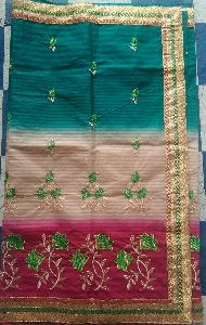 Cotton Border Embroidered Saree