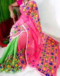 Handloom Cotton Silk Embroidered Saree