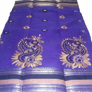 Handloom Cotton Tant Embroidered Saree