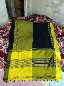 Handloom Soft Cotton Pom Pom Saree