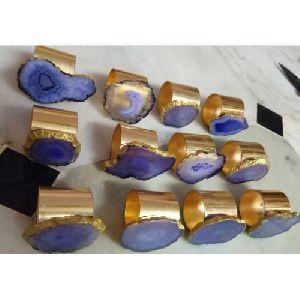 Metal Agate Napkin Ring