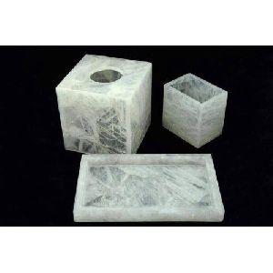 White Marble Bath Set