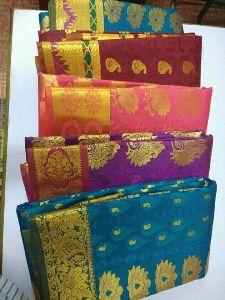 Nylon Mau Embroidered Sarees