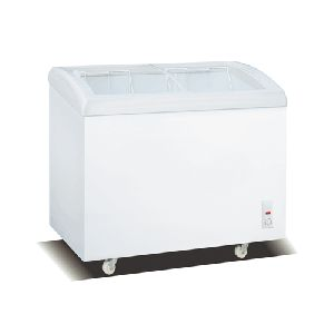 338L Curve Type Glass Door Static Cooling Chest Freezer
