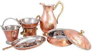 Brown Copper Steel Dinner Set