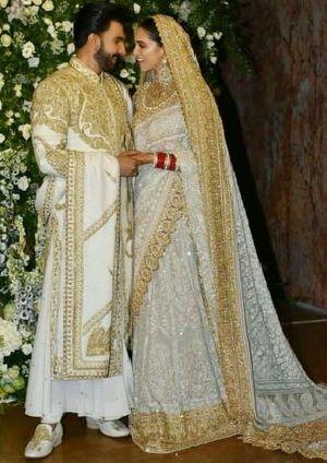 a69b5f7c40 Deepika Padukone & Ranveer Singh Wedding Reception Wear Heavy Saree ...