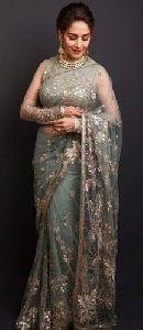 Madhuri Dixit Style Pista Colour Party Wear Sarees