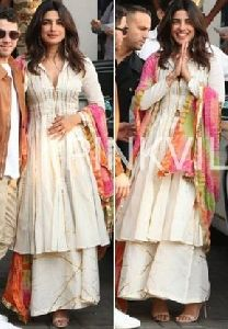 Prinyanka Chopra Style White Colour Plazzo Suits