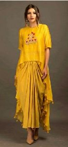 Yellow Pleted Skirt With Side Long Top